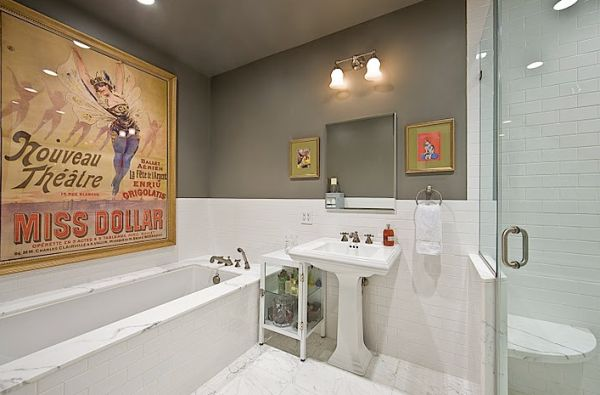 Decorate your bathroom walls with a vintage advertisement poster