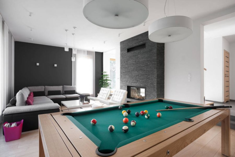 Dining table doubles up as pool table