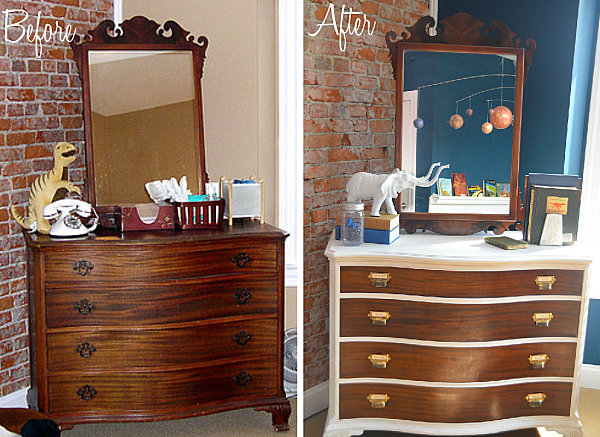 Dresser makeover with white border