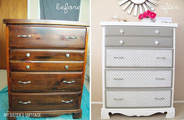 Dresser makeover with sheet metal 10 Inspiring Furniture Makeovers