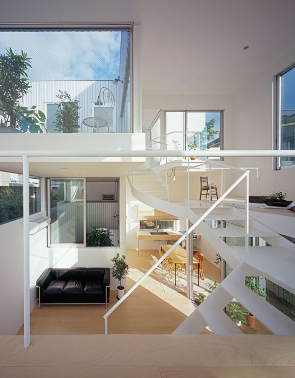 Elegant staircase in white