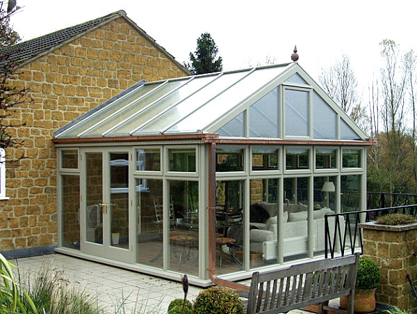 Exterior view of an inviting sunroom