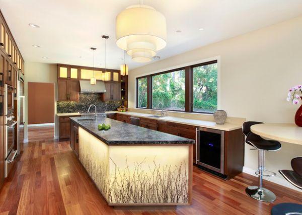 Extravagant drum pendant dazzles in this sophisticated kitchen