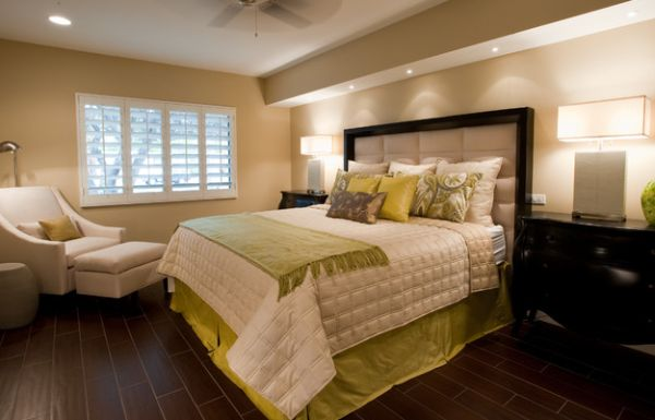 Fabric accents complement throw pillows perfectly in the bedroom