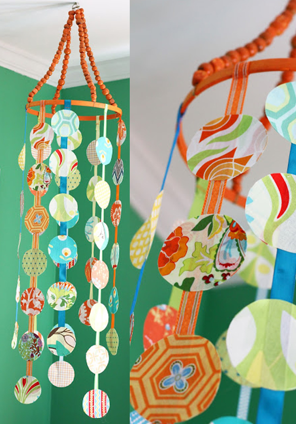 Fabric scrap mobile DIY