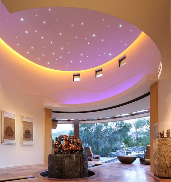 Fabulous entry way sports a ceiling with evening sky effect
