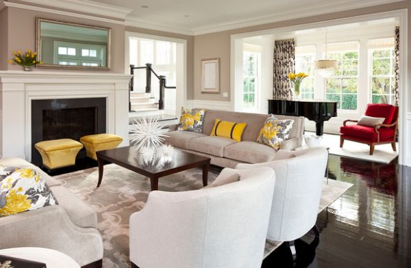 Fabulous yellow accents brought about using trendy throw pillows