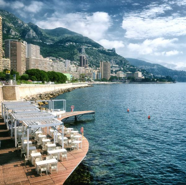 Floating beach bar and terrace at Monaco Life Club
