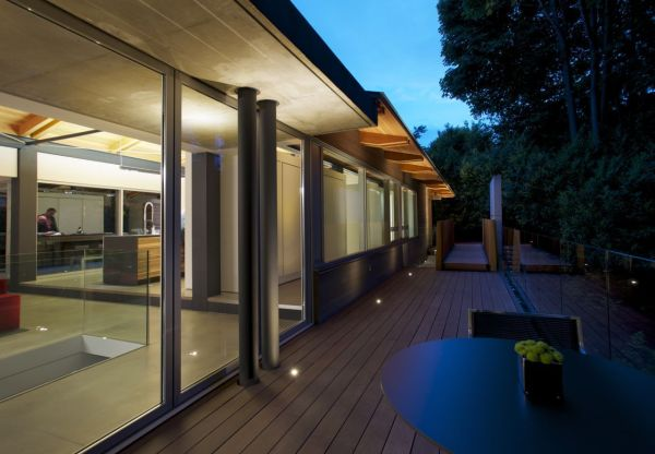 Floor to ceiling glass windows at the Southlands Residence