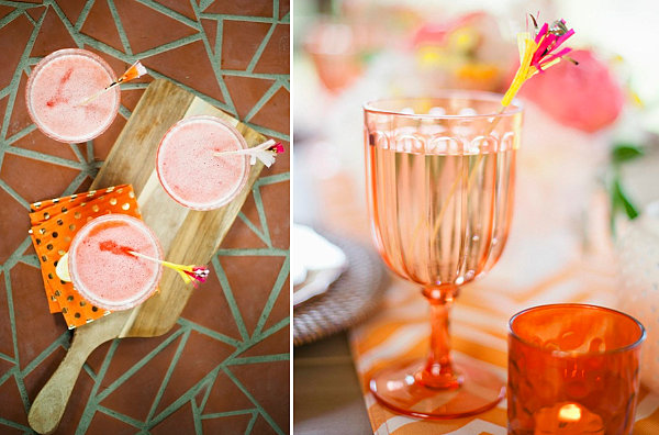 Fruity drinks with fringe stirrers