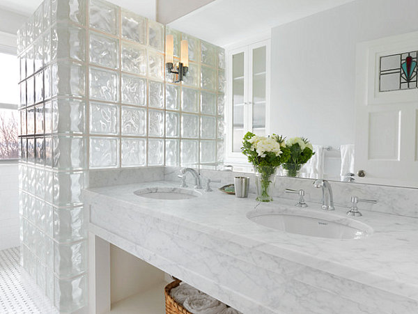 Great View In Gallery Glass Block And Marble Bathroom