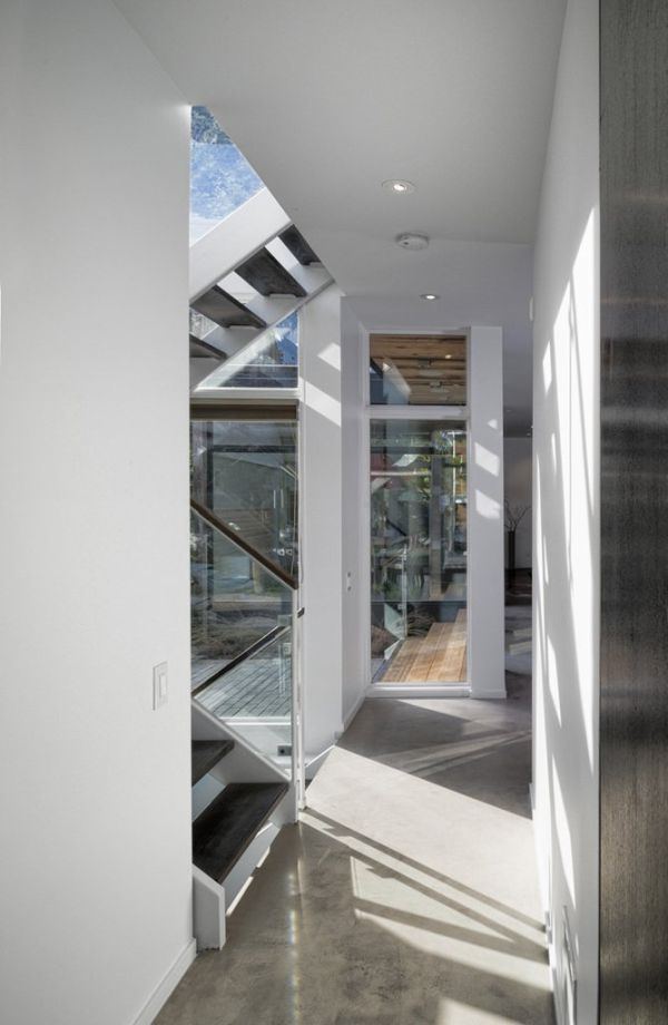 Glass windows allow ample natural light