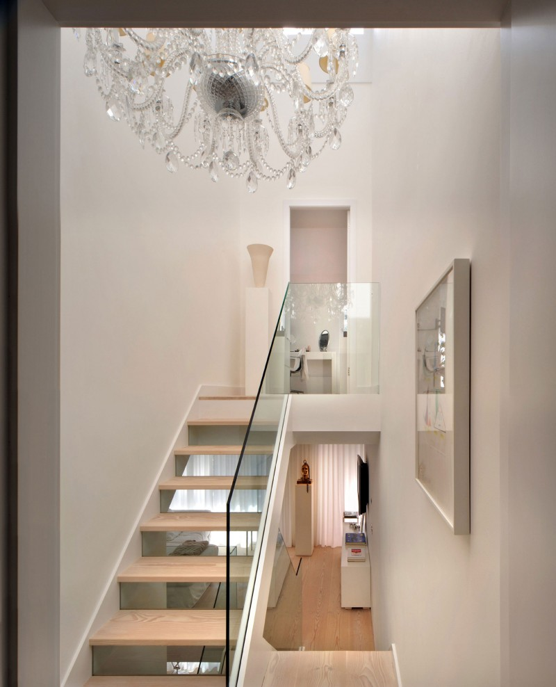 Gorgeous chandelier lights up the stylish interiors