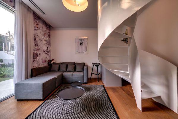 Gorgeous spiral staircase in white