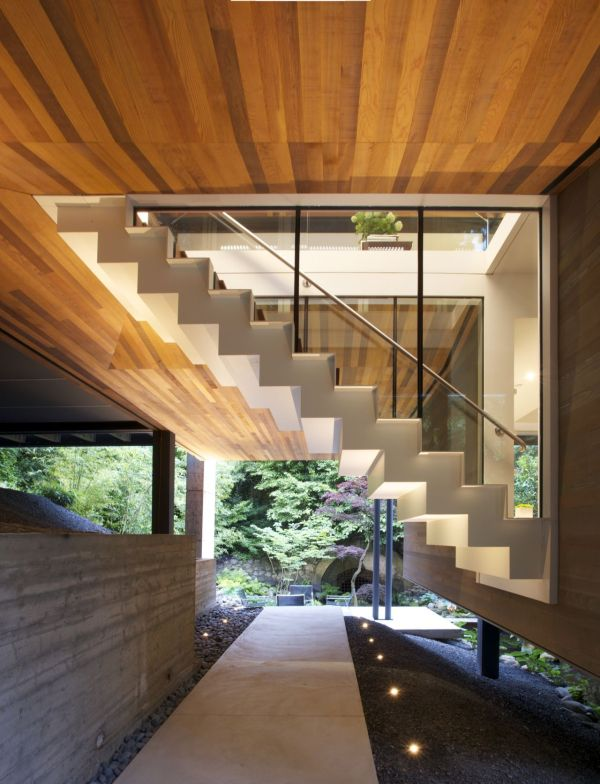 Gorgeous staircase leads to the top level
