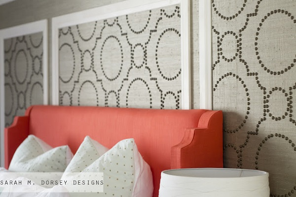 Grasscloth panel wall accent