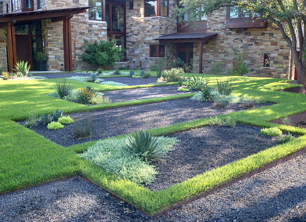 Gravel and grass define a contemporary yard decoist for Landscape design help