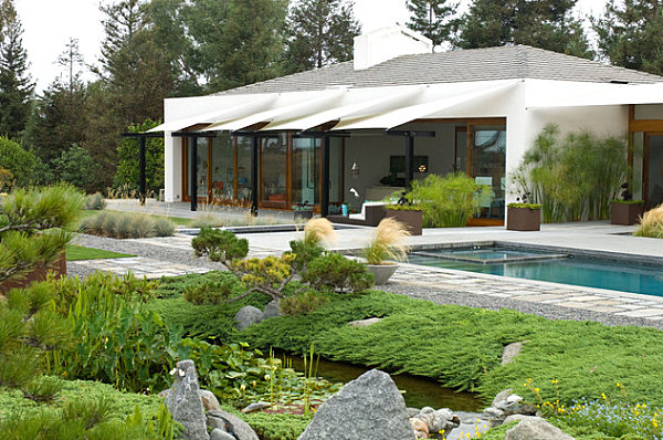 Gravel, stone and grass in a modern yard
