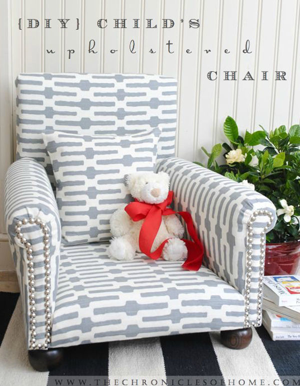 Gray and white upholstered child's chair