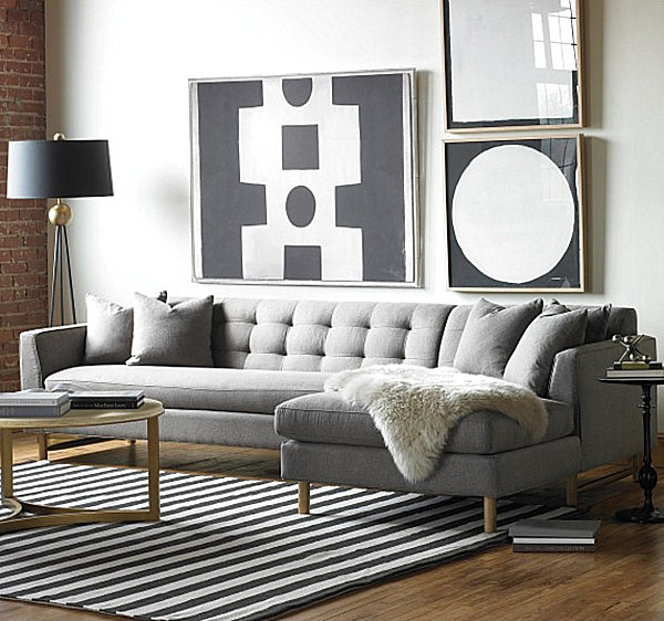 Gray Living Room With Gold Accents Decoist