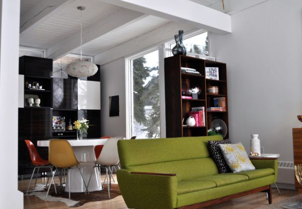 View in gallery Green accent couch stands out instantly
