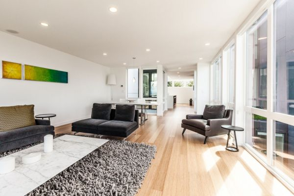 Green and yellow accents in the living space