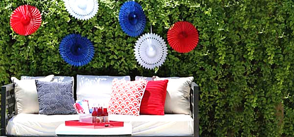 Hanging 4th of July decorations