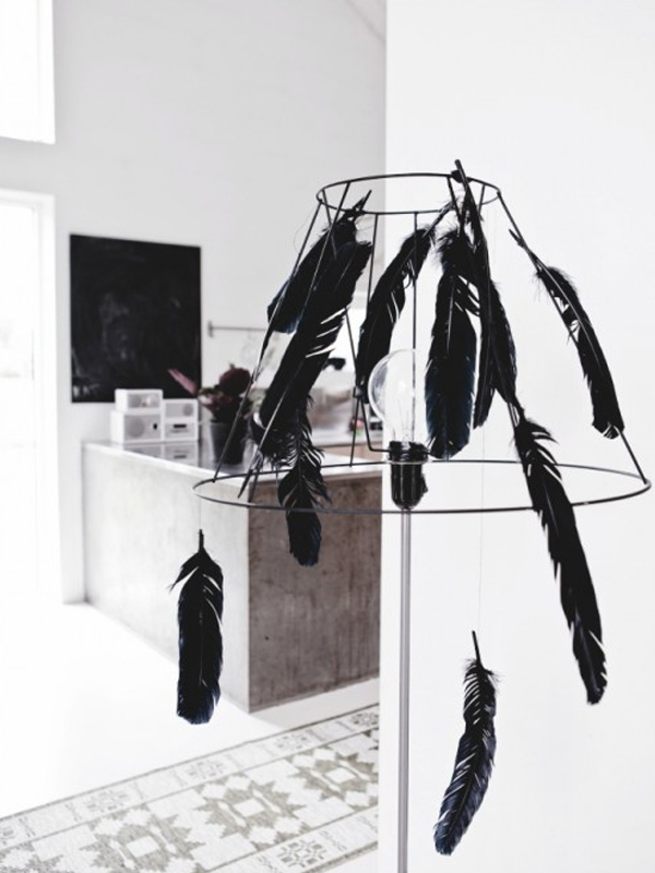 Hanging lamp with black feather