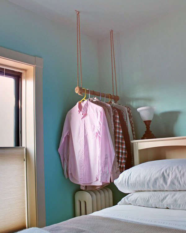 Hanging rope wrapped clothing rack