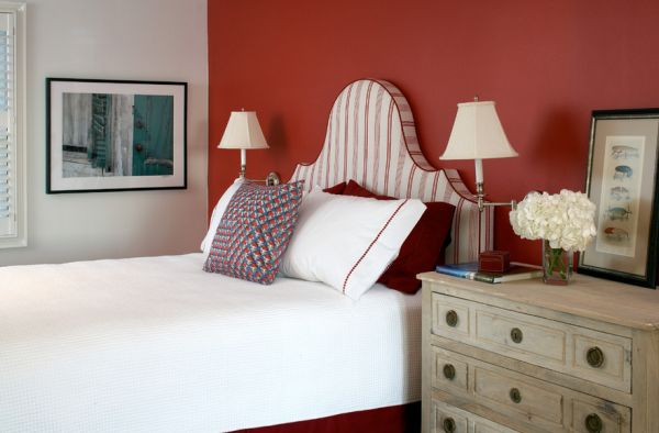Headboard in red and white stripes brings in the flag motif here