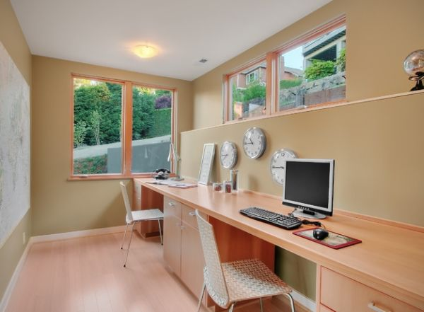Home office with multiple clocks for those who work across time zones!