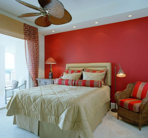 Interiors of a tropical-styled bedroom accentuated with recessed lighting