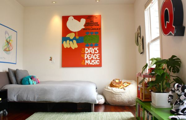 Kids' bedroom allows you to add bright and bold posters with ease