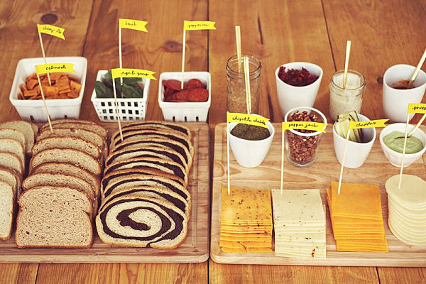 Labeled food at a fancy grilled cheese party