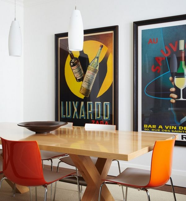 Large and neatly framed posters exude a sleek and modern vibe