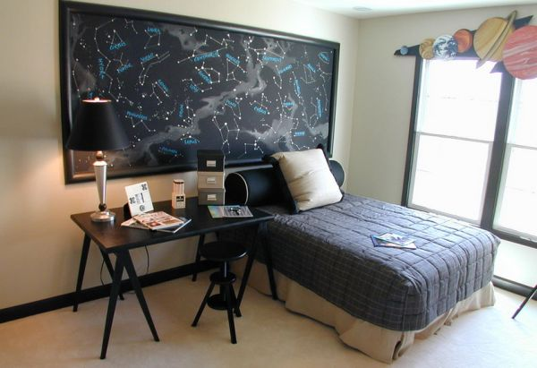 Large poster of constellations above the bed steals the show