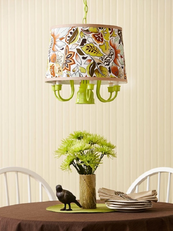 Lime green DIY chandelier with fabric lamp shade
