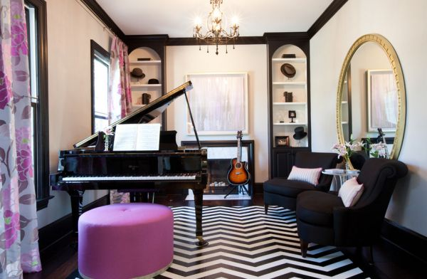 Living room in black and white proudly displays the owner's musical inclination