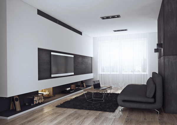 Living room of the bachelor pad Minimalist Bachelor Pad Brings Sleek Style to the Single