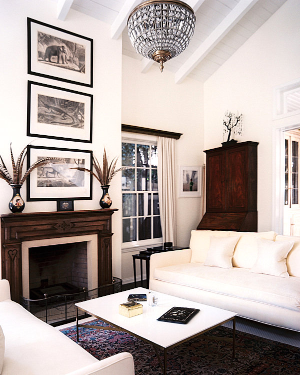 View in gallery Living room with dark and light tones & How to Decorate a Room with White Walls
