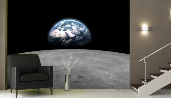 Celebrate moon landing with interiors inspired by the cosmos for Earth rising wall mural