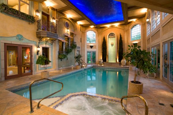 Lovely star ceiling sheds some light on the refreshing indoor pool