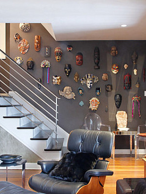 Mask collection lining the stairs