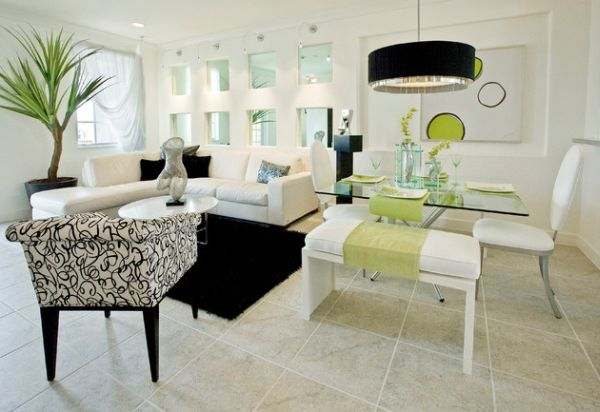 Match the drum pendant with the existing color scheme of the room