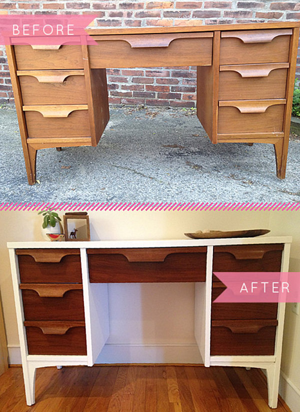 mid century modern desk makeover diy table makeovers