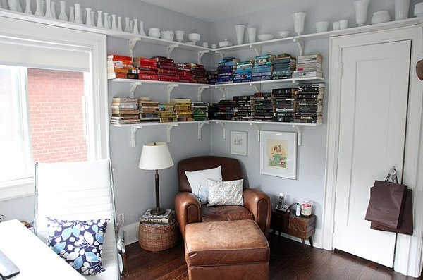 Milk glass collection in a home office