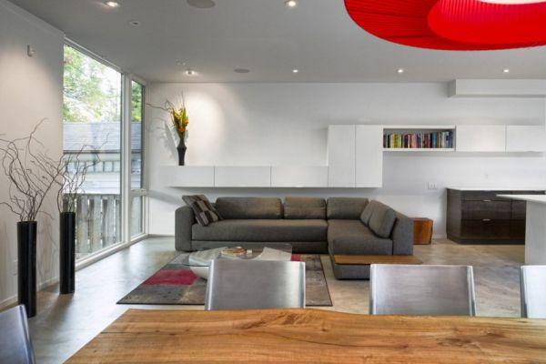 Minimalist living room with sleek cabinets