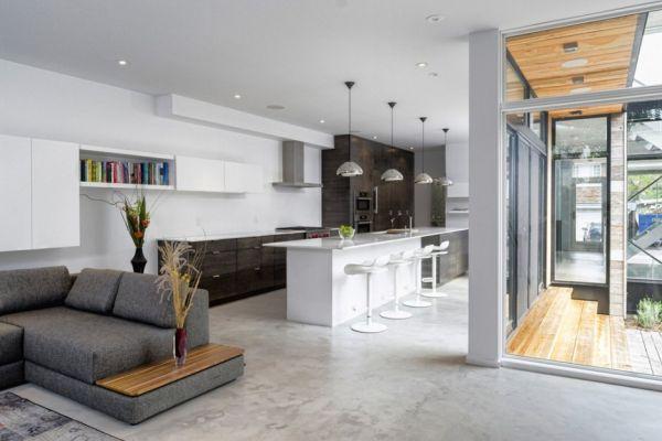 Minimalist open living floor plan inside the house