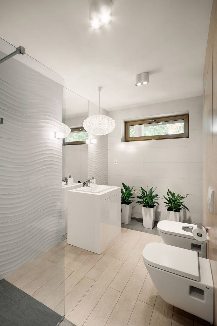 Modern bathroom with a hint of green