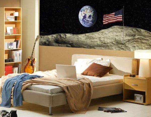 Modern bedroom with a poster of the US flag on moon